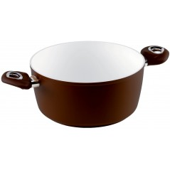 Rondel z dwoma uchwytami Brown Ceramic Induction