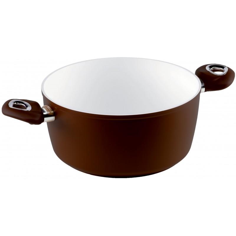 Rondel z dwoma uchwytami Brown Ceramic Induction