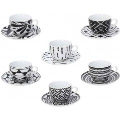 Tognana Mandala Black Set 6 Tea Cup & Saucer 220 ml
