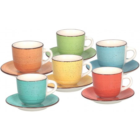 Tognana Art & Pepper 6 Coffee Cup & Saucer Set 90 ml