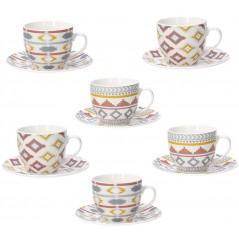 Tognana Iris Kilim Komplet 6 Filiżanek Z Podstawkami Tea 200 ml