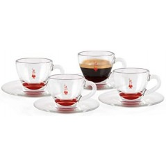 Bialetti Set of 4 Red Glass Espresso Cups with saucers